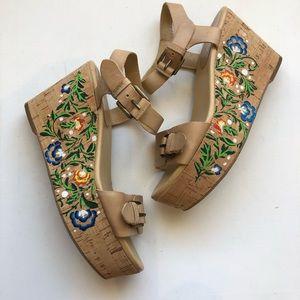Nine West Nude Boho Floral Painted Cork Wedge Heel